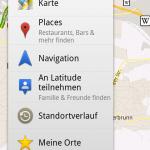 Google Maps - Symbolleiste