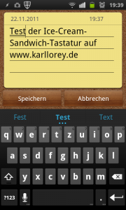 Ice Cream Sandwich Keyboard - Hochformat